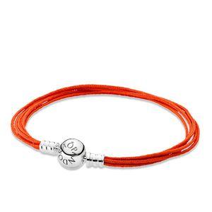Bracelete Multi Fios Laranja Com Fecho De Prata