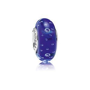 Charm De Prata E Murano Fizzle Azul Royal