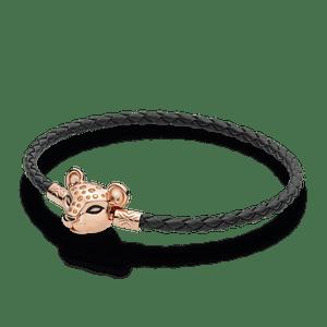 Bracelete Pandora Rose™ Cordão De Couro Preto Leoa