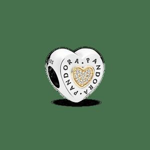 Charm Coração Pandora Signature Com Ouro 14k