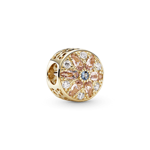 Charm Floral Magnífico Em Ouro 14k