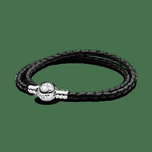 Bracelete De Couro Preto Com O Fecho Redondo