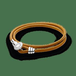 Bracelete Pandora De Couro De Duas Voltas Dourado