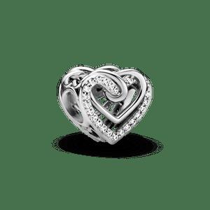 Charm Corações Entrelaçados Brilhantes