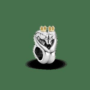 Charm Cisnes E Coração Com Ouro 14k