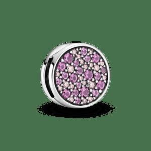 Clipe Pandora Reflexions™  Em Pavé Rosa