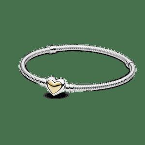 Bracelete Com Corrente De Trama E Fecho De Coracao Em Ouro 14k