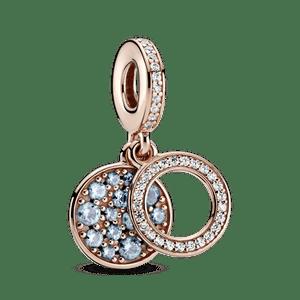 Charm Pendente Duplo Disco Brilhante Azul Claro Pandora Rose™