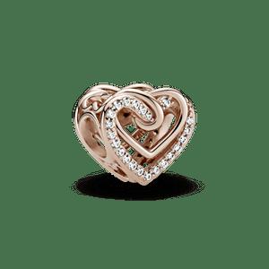 Charm Corações Entrelaçados Brilhantes Pandora Rose™